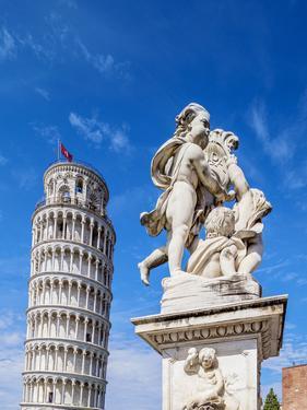 Putti Fountain and Leaning Tower, Piazza dei Miracoli, Pisa, Tuscany, Italy by Karol Kozlowski