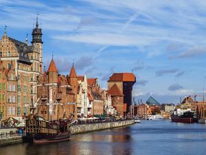 Ships on the Motlawa River, Old Town, Gdansk, Pomeranian Voivodeship, Poland, Europe by Karol Kozlowski