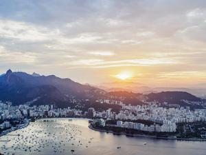 Skyline from the Sugarloaf Mountain at sunset, Rio de Janeiro, Brazil, South America by Karol Kozlowski
