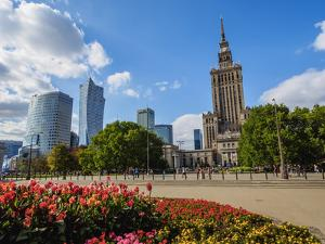 Skyscrapers with Palace of Culture and Science, City Centre, Warsaw, Masovian Voivodeship, Poland, by Karol Kozlowski