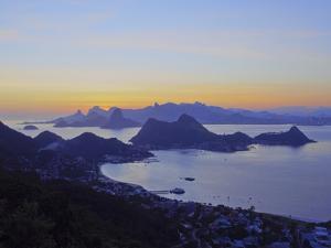 Sunset over Rio de Janeiro viewed from Parque da Cidade in Niteroi, Rio de Janeiro, Brazil, South A by Karol Kozlowski