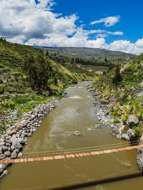 Suspension Bridge over Colca River, Chivay, Arequipa Region, Peru, South America by Karol Kozlowski