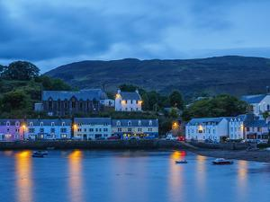 Twilight view of Portree, Isle of Skye, Inner Hebrides, Scotland, United Kingdom, Europe by Karol Kozlowski