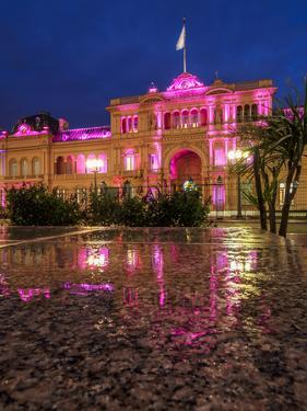 Twilight view of the Casa Rosada on Plaza de Mayo, Monserrat, City of Buenos Aires, Buenos Aires Pr by Karol Kozlowski