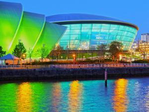 Twilight view of The Clyde Auditorium and the Hydro, Glasgow, Scotland, United Kingdom, Europe by Karol Kozlowski