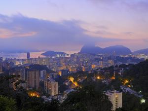 Twilight view over Laranjeiras towards Sugarloaf Mountain, Pereira da Silva, Rio de Janeiro, Brazil by Karol Kozlowski
