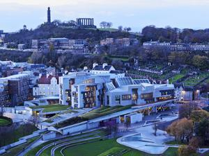 UK, Scotland, Lothian, Edinburgh, Twilight view of the Scottish Parliament Building and the Calton by Karol Kozlowski
