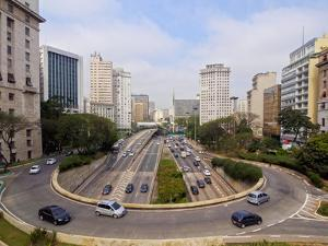 View of Avenida 23 de Maio from Viaduto do Cha, City of Sao Paulo, State of Sao Paulo, Brazil, Sout by Karol Kozlowski