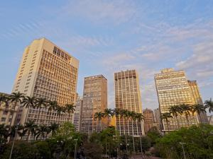 View of the Anhangabau Park and buildings in city centre., City of Sao Paulo, State of Sao Paulo, B by Karol Kozlowski