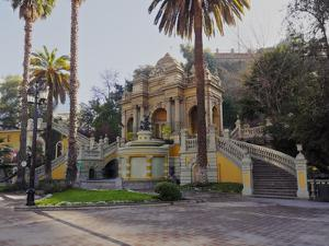 View of the Neptune Fountain and Terrace on the Santa Lucia Hill, Santiago, Chile, South America by Karol Kozlowski