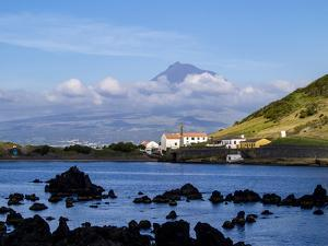 View towards Porto Pim Whaling Station and Pico Mounain, Faial Island, Azores, Portugal, Atlantic, by Karol Kozlowski