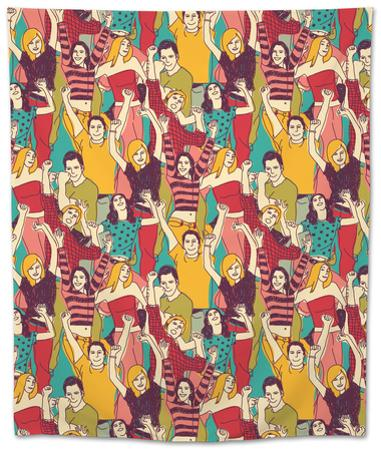 Crowd Active Happy People Seamless Color Pattern by Karrr