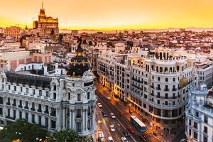 Panoramic View Of Gran Via, Madrid, Spain by kasto