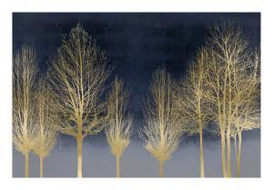 Gold Forest on Blue by Kate Bennett