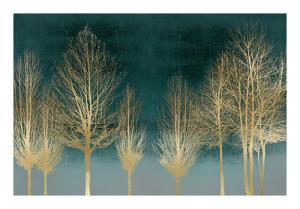 Gold Forest on Teal by Kate Bennett