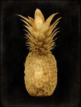 Gold Pineapple on Black I by Kate Bennett