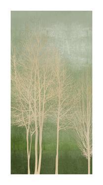 Trees on Green Panel I by Kate Bennett