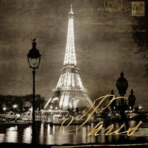 Paris At Night In Sepia by Kate Carrigan