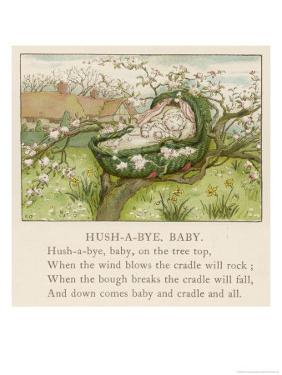 Baby Sleeps in Its Cradle Among the Apple Blossom Unaware of the Danger That by Kate Greenaway