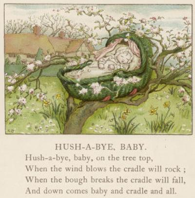 Baby Sleeps in Its Cradle Among the Apple Blossom Unaware of the Danger That