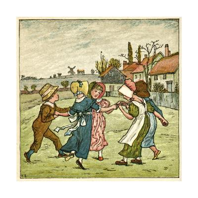 Children Dancing in a Ring on Village Green