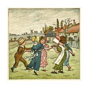 Children Dancing in a Ring on Village Green by Kate Greenaway