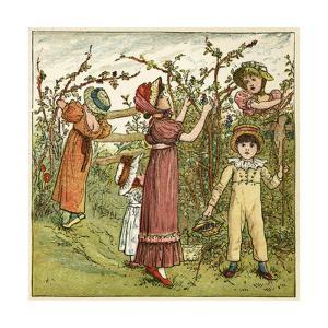 Five Children Picking Blackberries by Kate Greenaway