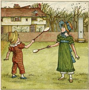 Girl and Boy Playing Shuttlecock and Battledore on the Grass by Kate Greenaway