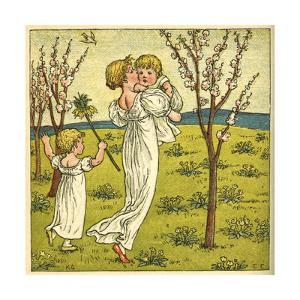 Girl with Toddler and Baby by Kate Greenaway