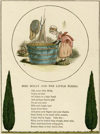 Illustration, Miss Molly and the Little Fishes