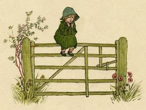 Little Child Sitting on a Fence by Kate Greenaway