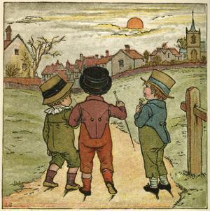 Three Boys Walking Along a Lane by Kate Greenaway