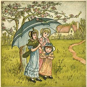 Three Girls under Blue Parasol by Kate Greenaway