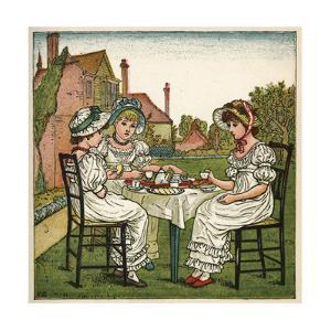 Three Young Girls Having a Tea Party by Kate Greenaway