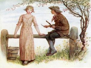 'Two at a stile' by Kate Greenaway by Kate Greenaway