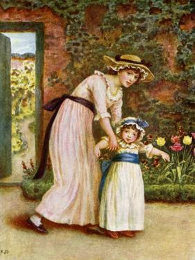 'Two girls in a garden', by Kate Greenaway by Kate Greenaway