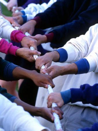 Multiracial Team Playing Tug of War, Portland, Oregon