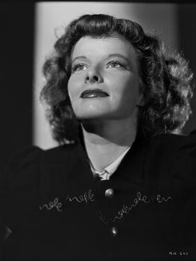 Katharine Hepburn posed in Black and White Portrait by E Bachrach