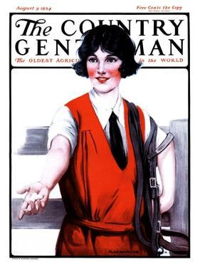 """""""Sugar Cube for Her Horse,"""" Country Gentleman Cover, August 9, 1924 by Katherine R. Wireman"""