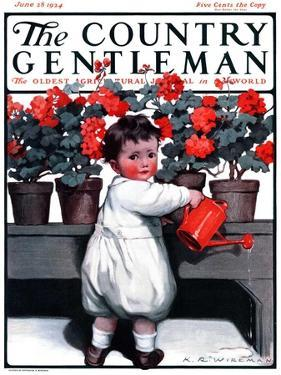 """""""Toddler Watering Geraniums,"""" Country Gentleman Cover, June 28, 1924 by Katherine R. Wireman"""