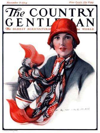 """Woman in Red Cloche and Scarf,"" Country Gentleman Cover, November 8, 1924"