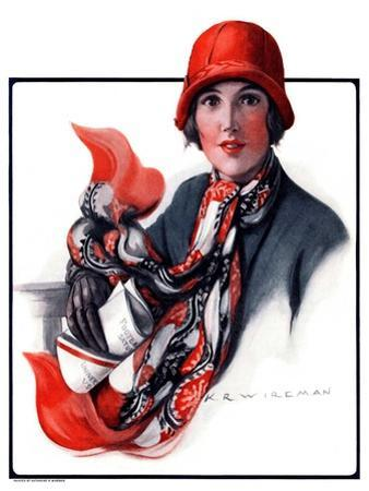 """Woman in Red Cloche and Scarf,""November 8, 1924"