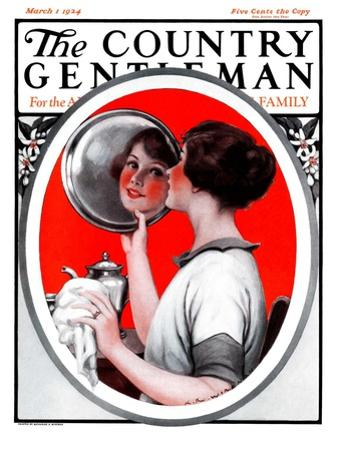 """Woman Reflected in Silver Tray,"" Country Gentleman Cover, March 1, 1924"