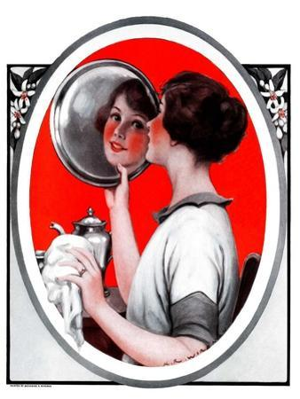 """Woman Reflected in Silver Tray,""March 1, 1924"