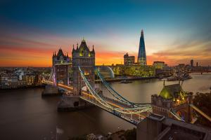 Twilight, Tower Bridge and the Shard at Sunset by Katherine Young