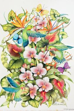 Orchid Splendor with Birds by Kathleen Parr McKenna