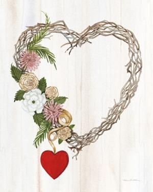 Rustic Valentine Heart Wreath I by Kathleen Parr McKenna