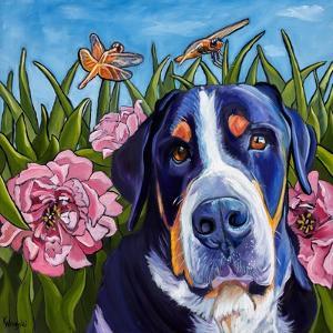 Dog and Dragonflies by Kathryn Wronski