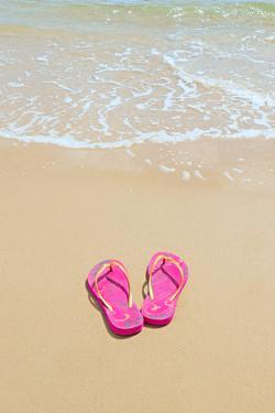 Flip Flops on a Sandy Beach by Kathy Collins