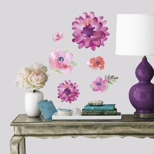 Kathy Davis Watercolor Blooms Peel and Stick Wall Decals